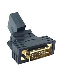 1080p DVI macho para HDMI V1.3 Grau Feminino 360 Rotating adaptador giratório para HDTV Placa de vídeo Frete Grátis