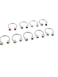 Lureme®316L Surgical Titanium Steel Crystal U Multi-Purpose Single Stud Earrings (Random Color)