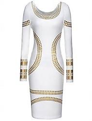 Col rond de MingFan femmes Celebrity Kim Egypte feuille d'or Imprimer manches longues Robe moulante