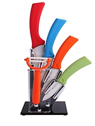 """6 Pieces faca de cerâmica Conjunto com 6 """"Chef Knife, 5"""" Chef Knife, 4 """"Faca, 3"""" Faca, Peeler e acrílico Titular"""