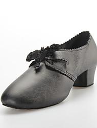 "Women's Modern Ballroom Lace Leather Heels Lace-up Chunky Heel Black 1"" - 1 3/4"" Non Customizable"
