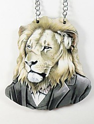 collar de madera patrón de león