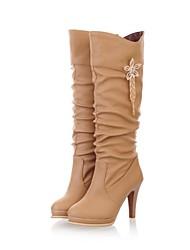 Women's Fall Winter Fashion Boots Leatherette Dress Stiletto Heel Buckle Black White Beige