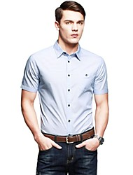 Men's Casual/Daily Work Shirt,Solid Striped Short Sleeve Cotton