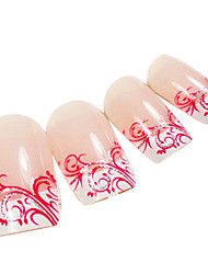 24PCS rouge Arabesque Design Rose Nail Art Conseils avec de la colle