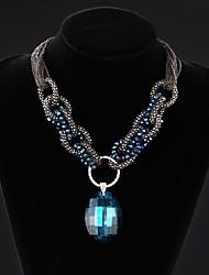 vera cristallo di lusso gemma collana catena multi-layer