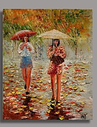 Hand Painted Impression People Painting with Stretched Frame Ready to Hang