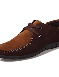 Men's Spring Summer Fall Winter Suede Office & Career Casual Flat Heel Lace-up Navy Brown Green