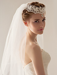 Wedding Veil Two-tier Fingertip Veils / Headpieces with Veil 47.24 in (120cm) Tulle White White / IvoryA-line, Ball Gown, Princess,