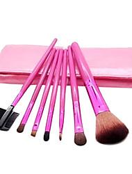7 Pcs Pony Hair Cosmetic Brush Set With Eyelash Curler