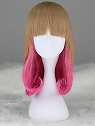 Multi-color Medium Long Wavy Synthetic Yellow Pink Sweet Lolita Wig