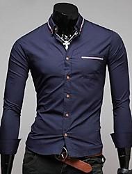 Men's Solid Work Shirt,Cotton Blend Long Sleeve Blue