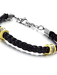 Classy Material Leather Titanium Steel Bracelet with Fashion and Personality
