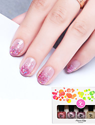 5+1PCS Sweet Flower Sea Candy Gradual Color Environment Friendly Sequins Nail Polish Set(Gradual Red)