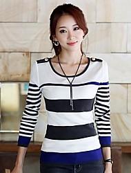 Women's Slim Shoulder Board Stripe Pullover Sweater