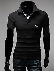 homens lesen lapela elegante bordado t-shirt o