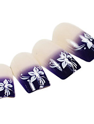 24PCS Purple Gradients Flower Design Natural Nail Art French Tips With Glue