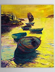 Hand Painted Oil Painting Landscape  Night Boats in Ocean with Stretched Frame