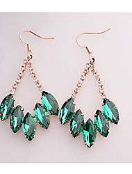 Women's Hook Earrings Emerald Rose Gold Plated Crystal Horse Eye in Jewelry