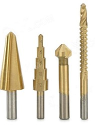 Chanfrein / Step / conique Cone / scie Perceuse au titane trou Cut Tool Set - Golden + Silver