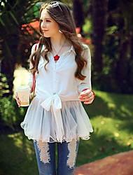 Women's Solid White Shirt , Shirt Collar Long Sleeve Mesh/Ruffle
