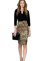 Frauen Animal Print Leopard Promi Stretch High Waist Zip Cocktail Bodycon Bleistiftrock