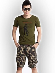 Men's Round Collar Casual Short Sleeve Cotton Print Tops T-Shirts