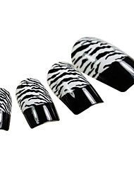 24PCS Black Fingertip Leopard Design Nail Art Tips With Glue