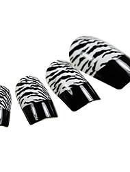 24PCS Preto dedo Leopard Dicas de Design Art Nail com cola