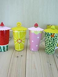 fruta taza de cerámica con tapa de color al azar, 10.5x9x15cm