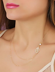 Shixin® Fashion Leaf Shape Pearl Pendant Necklace(1 Pc)
