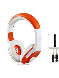 VYKON MQ44 Superb 3.5 mm On-ear Headphones with Microphone & 1.2 m Cable (White & Orange)