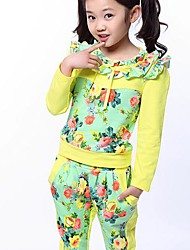 Girl's Fall Wear with Round Collar and Long Sleeve Floral Casual Two Pieces Clothing Set