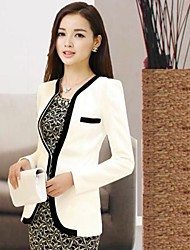 Women's Fashion Casual Zwart-wit Patchwork Slim Blazer Jassen