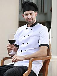 ресторанах униформа белые короткий рукав повара пальто с двубортные кнопок