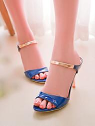 zapatos de las mujeres del talón de estilete sandalias de charol con puntera abierta más colores disponibles