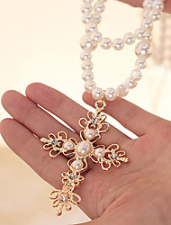 MIKI Stack Diamante Cross Pearl Necklace