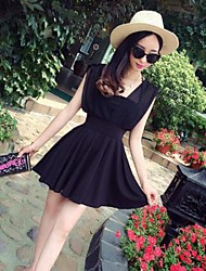 Women's Charming After Joining Together The Chiffon V-neck Wrapped Chest Bind To Waist Dress
