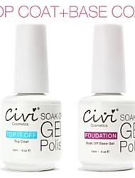 Civi UV Gel Polish 15ml Nail Gel Base Coat+Top Coat
