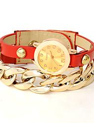 wagen u Frauen-Kette PU-Leder-Armband-Uhren