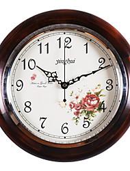 """12.2 """"Country Style Floral escuro redondo Madeira Cor Relógio de parede"""