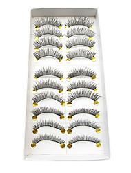 10Pairs Five Styles  Mixed Crossed Dark Handmade High Quality Fiber False Eyelashes