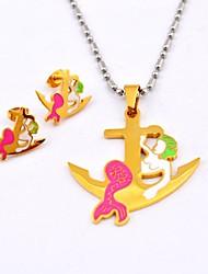 Colori Moda Mermaid ancoraggio in titanio acciaio collane e orecchini Gioielli Set