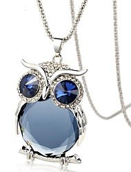 Dara® Classic (Owl Pendant) Silver Platinum-Plated Pendant Necklace(White and Blue) (1 Pc)