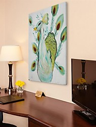 Hand Painted Wall Art Wall Decor, Retro Style Animal Abstract Peacock Hand Painted Wall Décor
