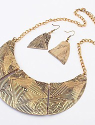 Women'S Set:European Statement Metal Earring&Necklace