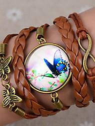 Galaxy Mooie Retro DIY Vlinder Acht Word Flower Time juweel met de hand Twine Brown Lichtmetalen Glas Leer Warp Bracelet (1 Pc)