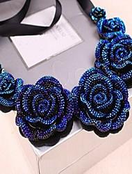 Mujeres de Sally Blue Rose Collar de la impresión