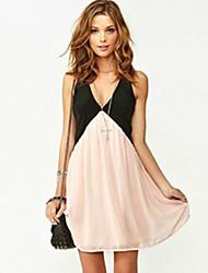 BLK V Neck Chiffon Strap Short Dress