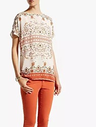 Damen Druck Einfach Lässig/Alltäglich T-shirt,Bateau Frühling / Sommer / Herbst Kurzarm Mehrfarbig Dünn